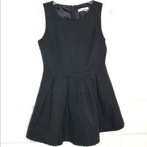 Sans Souci black fit & flare pleated zipper dress